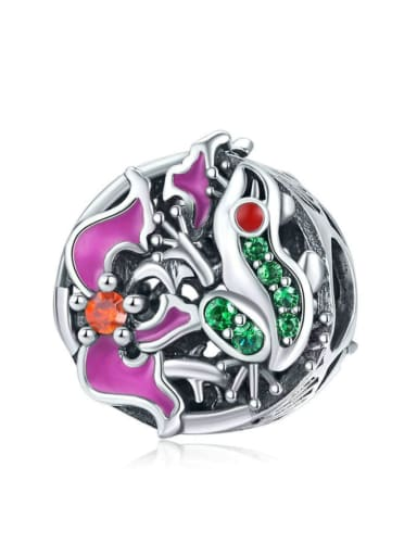 925 silver cute tree frog charm