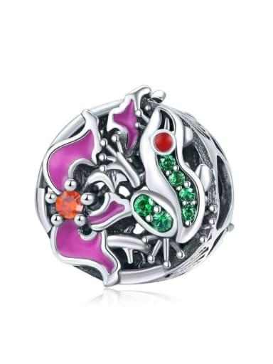 925 silver cute tree frog charm