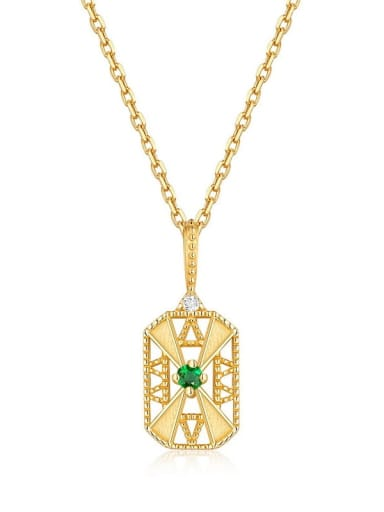 925 Sterling Silver With Gold Plated Vintage Square Cubic Zirconia Necklaces