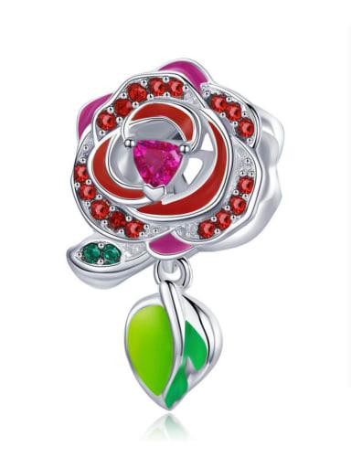 Pendant 925 Silver Romantic Red Rose charm
