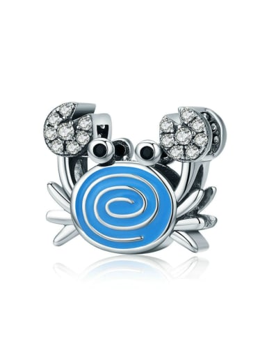 925 silver cute crab charm