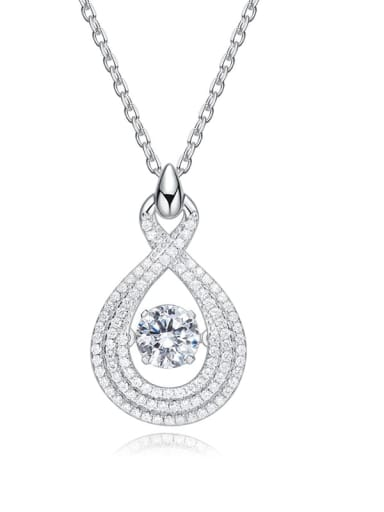 925 Sterling Silver With Platinum Plated Delicate Dancing stone Necklaces