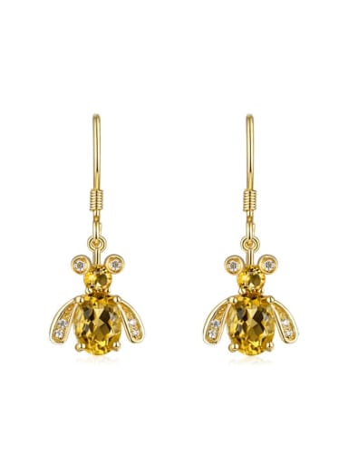 925 Sterling Silver With 5*7mm Citrine Cute Bee Hook Earrings