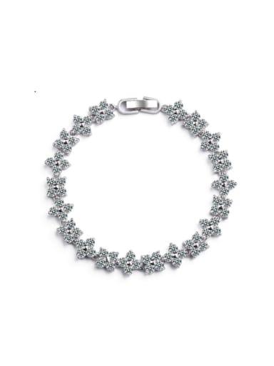 AAA+Cubic Zircon,White,Tennis Bracelet,Platinum-plated,flower