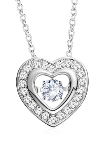 925 Sterling Silver With Platinum Plated Classic Heart Dancing stone Necklaces