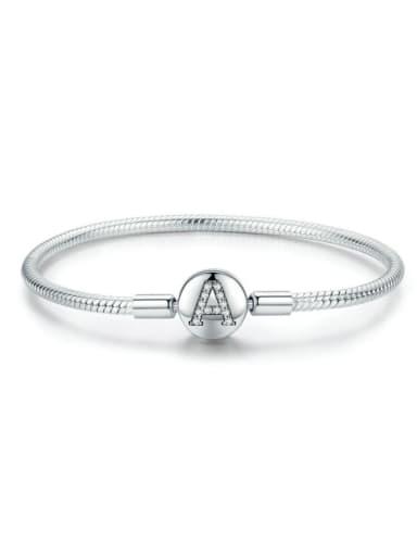 925 silver letter A element basic bracelet