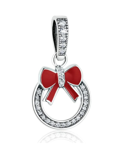 925 Silver Cute Christmas Wreath charm