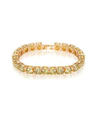 AAA+Cubic Zircon,Olive yellow,Tennis round Delicate Bracelet,18K-Gold plated