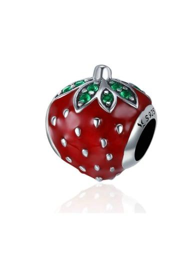 925 silver cute strawberry charm