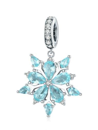 SCC940 925 silver cute snowflake charm