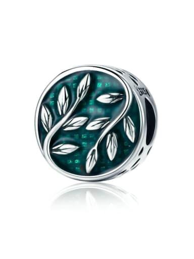 925 silver green leaf charm