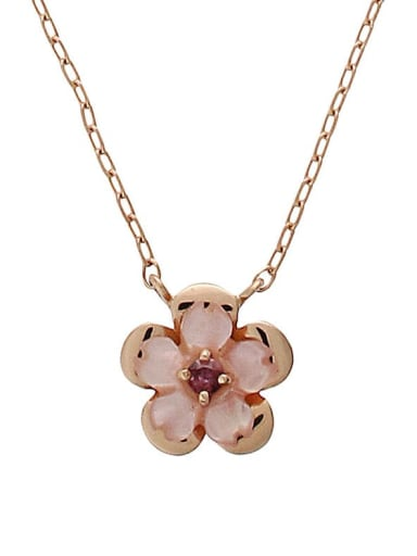 925 Sterling Silver With Rose Gold Plated Cute Flower Necklaces