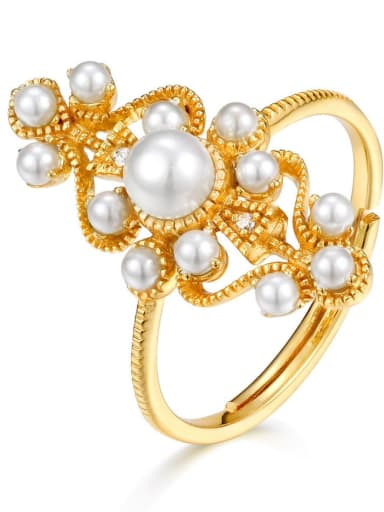925 Sterling Silver With Artificial Pearl Vintage Statement Ring