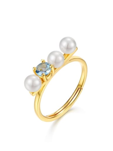 925 Sterling Silver With Gold Plated Delicate Topaz+Artificial Pearl free size Ring