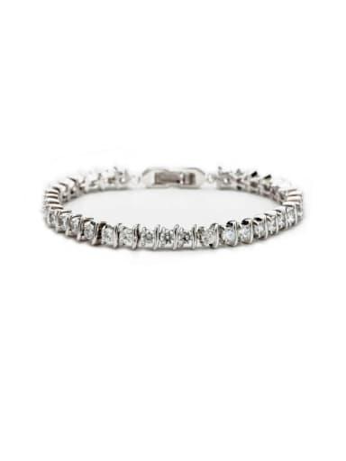 AAA+Cubic Zircon,White,Tennis round Bracelet,Platinum-plated