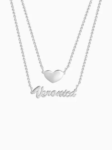Customized Two Layers Personalized Heart Name Necklace