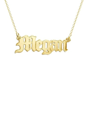 18K Gold Plated Megan style Personalized old english Name Necklace