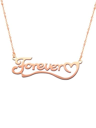 18K Rose Gold Plated Love You Forever Personalized Classic Name silver