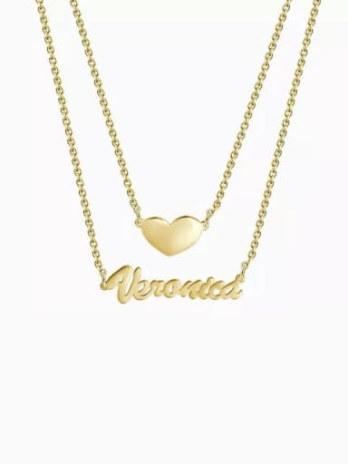 18K Gold Plated Customized Two Layers Personalized Heart Name Necklace