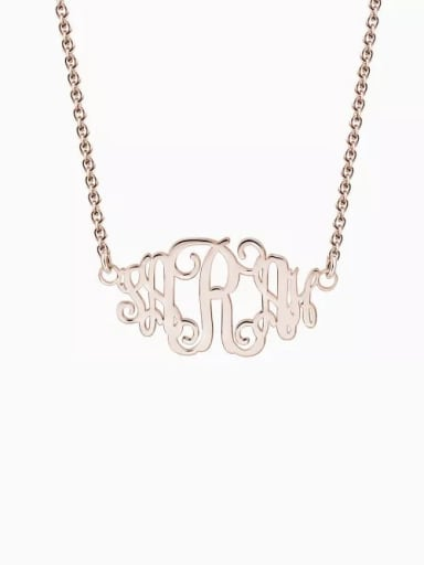 18K Rose Gold Plated Customize Celebrity Monogram Necklace sterling Silver