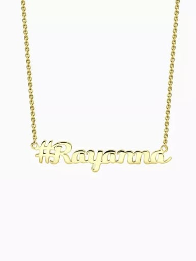 18K Gold Plated Customized Silver Hashtag Name Necklace