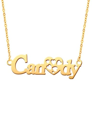 18K Gold Plated Sweet Love Hollow Out Heart personalized  Name Necklace