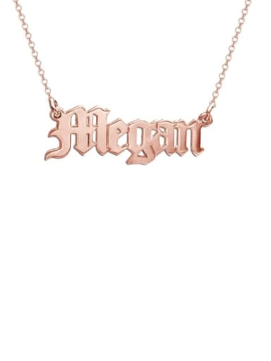 18K Rose Gold Plated Megan style Personalized old english Name Necklace
