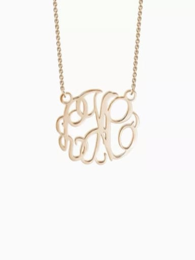 18K Rose Gold Plated Customize Monogram Necklace Sterling Silver