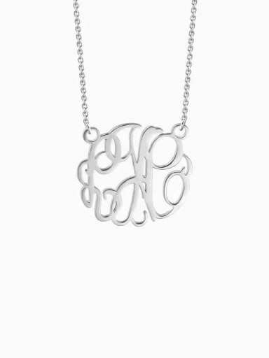 18K White Gold Plated Customize Monogram Necklace Sterling Silver