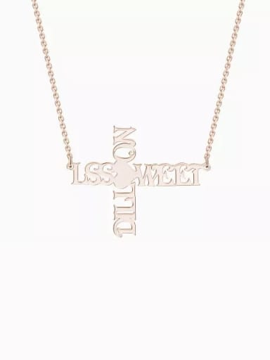 18K Rose Gold Plated Customize Personalized Cross Two Name Necklace