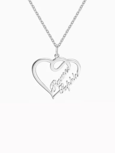 Silver Customize Overlapping Heart Two Name Necklace