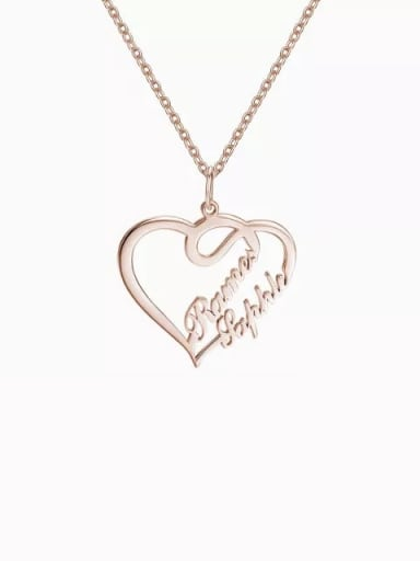 18K Rose Gold Plated Customize Overlapping Heart Two Name Necklace