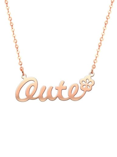 18K Rose Gold Plated Personalized Classic Name Necklace with Flower