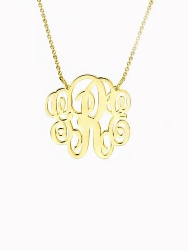 Customize Small Fancy Monogram Necklace silver