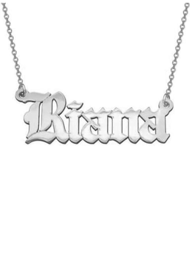 18K White Gold Plated Personalized Old English Font Name Necklace