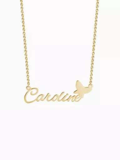 18K Gold Plated Customize silver Personalized Name Necklace With Butterfly