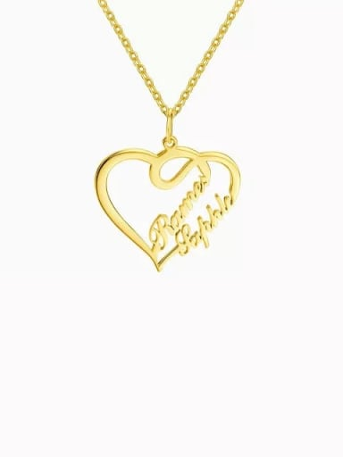 18K Gold Plated Customize Overlapping Heart Two Name Necklace