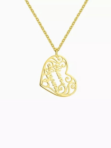 18K Gold Plated Customized silver Filigree Heart Two Name Necklace
