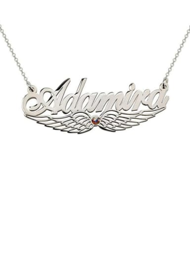 18K White Gold Plated Custom Angel Wing Name Necklace with birthstone