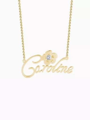18K Gold Plated Customize Silver Personalized Crystal Name Necklace With Flower