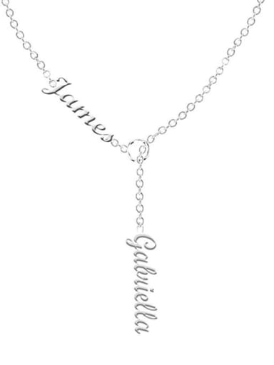 18K White Gold Plated Customize Lariat Name Necklace For Couples