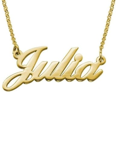18K Gold Plated Custom Julia style Name Necklaces silver