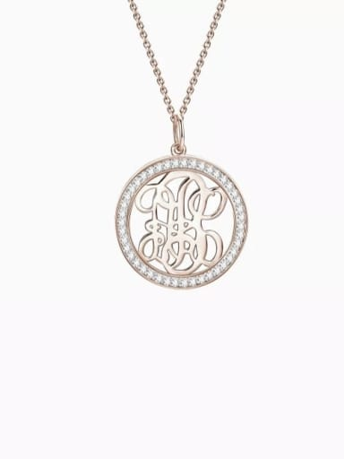 18K Rose Gold Plated Customize Pave CZ Monogram Necklace Sterling Silver