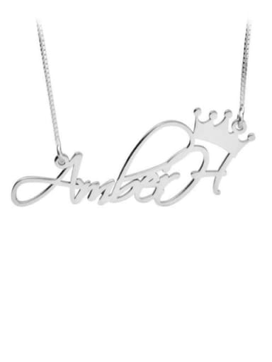 18K White Gold Plated Aber style Personalized Princess Crown Name Necklace silver