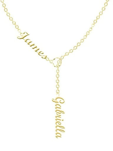 18K Gold Plated Customize Lariat Name Necklace For Couples