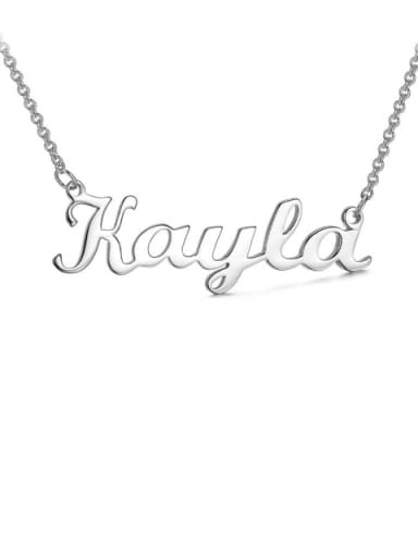 18K White Gold Plated custom Kayla style silver Personalized Name Necklace