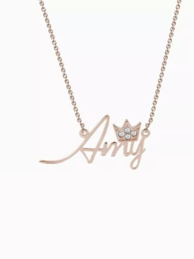 18K Rose Gold Plated Personalized Crystal Name Necklace With Crow Silver