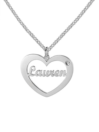 18K White Gold Plated Heart Name Necklace With Birthstone