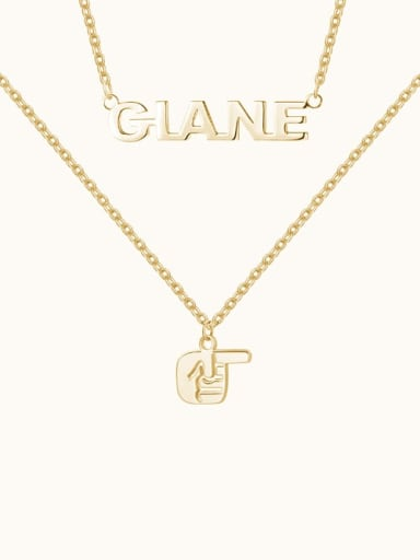 18K Gold Plated Name Necklace with Layered Gesture silver