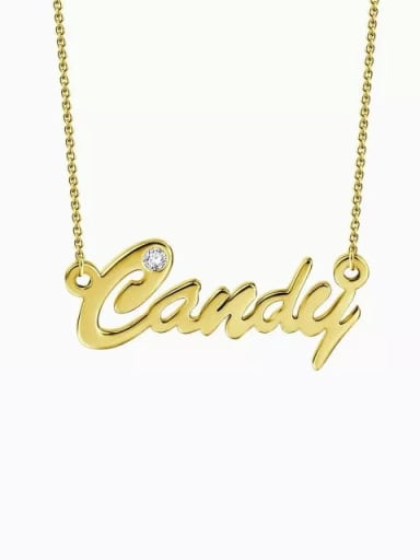 18K Gold Plated Customized Personalized CZ Name Necklace Silver